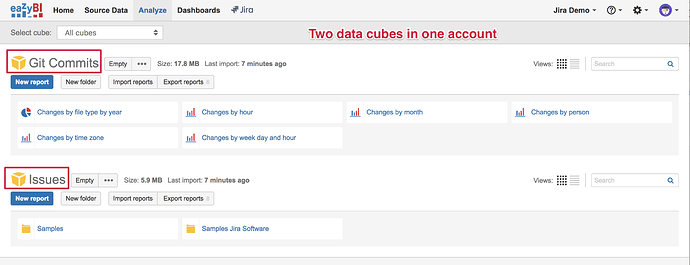 Two data cubes in one account