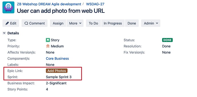 Story and Epic Link custom fields in Jira